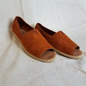 Tom's Brown Suede Peep Toes shoes, 8.5